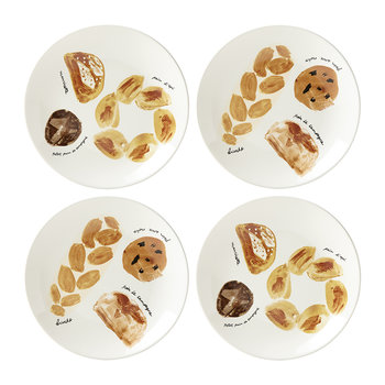 'Freshly Baked' Bread Themed Plates - Set of 4