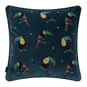 Toucan Velvet Cushion - 45x45cm - Teal