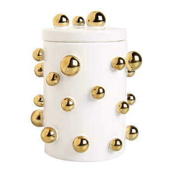 Dotted Storage Jar - White/Gold