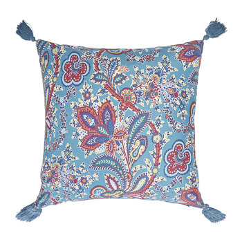 Hathi Right Facing Silk Tassel Cushion - 45x45cm - Turquoise