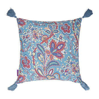 Hathi Left Facing Silk Tassel Cushion - 45x45cm - Turquoise
