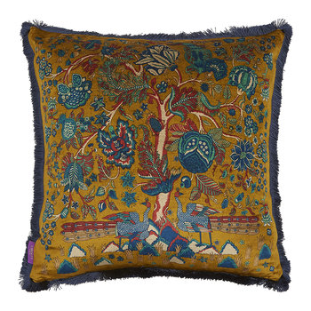 Tree of Life Fringe Cushion - 60x60cm - Gold
