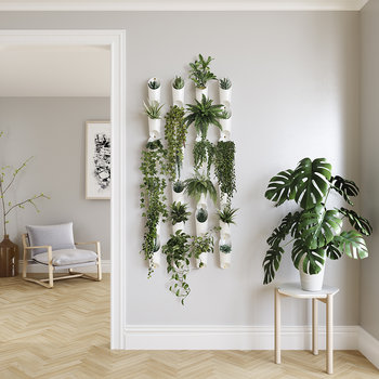 Floralink Wall Storage/Planter Units - Set of 3 - White