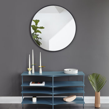 Hub Round Wall Mirror - 94cm - Black