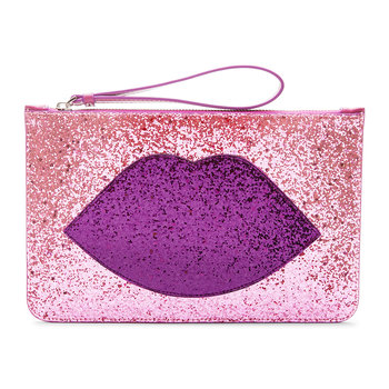 Glitter Lip Grace Clutch Bag - Light Pink/Purple