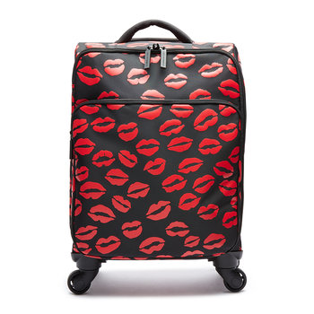Lip Blot Soft Trolley Suitcase - Black/Red