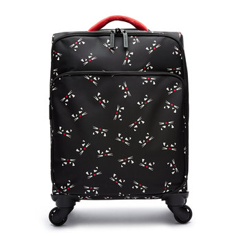 Kooky Cat Soft Trolley Suitcase - Black/Multi - Black/Multi