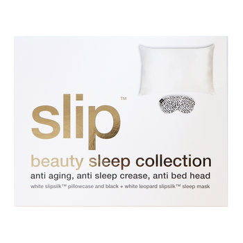 Beauty Sleep Silk Pillowcase & Eye Mask Set - Black/White