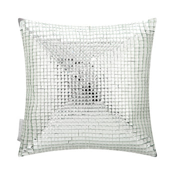 Square Crystal Bed Cushion - Silver - 30x30cm