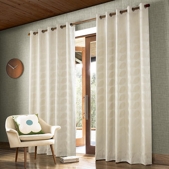 Jacquard Stem Eyelet Curtains - Clay