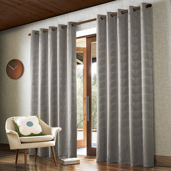Jacquard Stem Eyelet Curtains - Gray