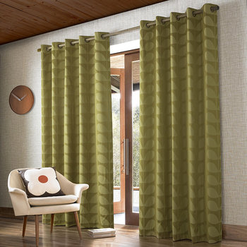 Jacquard Stem Eyelet Curtains - Yellow/Olive