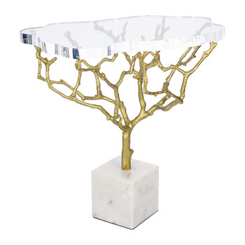 Acrylic Tree Side Table - Brass