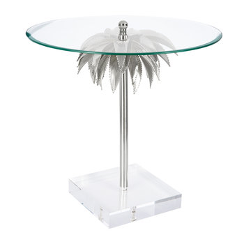 Palm Tree Side Table - Shiny Nickel
