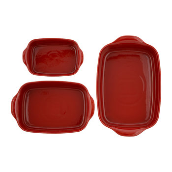 Ultime 3 Piece Rectangular Oven Dish Set - Red