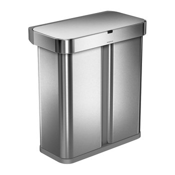 Rectangular Dual Compartment Sensor Bin - Brushed Steel - 58L