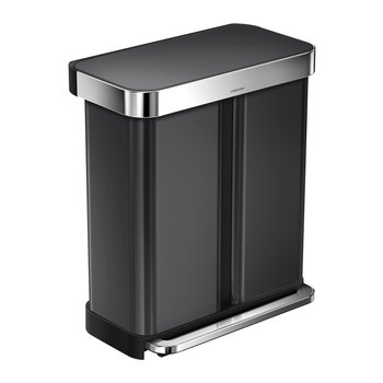 Dual Compartment Pedal Bin - Black Stainless Steel - 58L