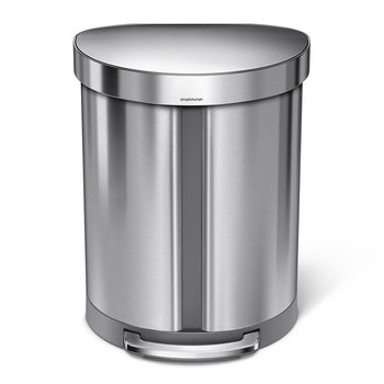 Semi-Round Dual Compartment Pedal Bin - Brushed Steel - 55L