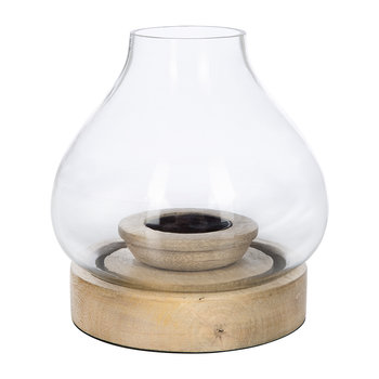 Naryla Glass Lantern - Mango Wood - Small