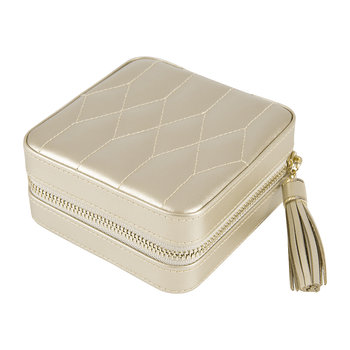 Caroline Zip Travel Jewellery Case - Champagne