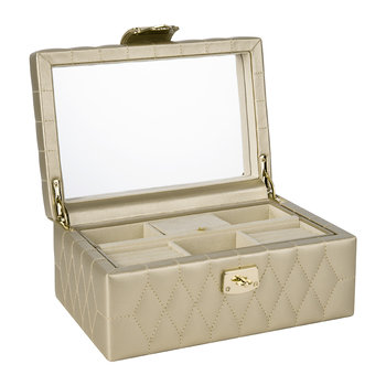 Caroline Small Jewelry Box with Travel Case - Champagne