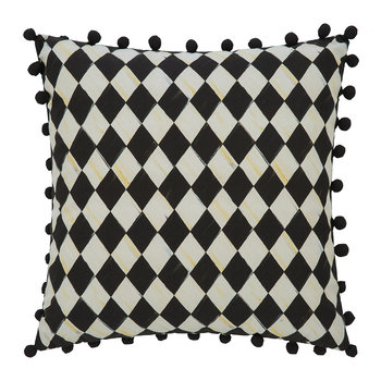 Courtly Check Pillow - 46x46cm - Black Pom-Pom