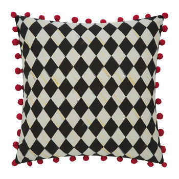 Courtly Check Pillow - 46x46cm - Red Pom-Pom