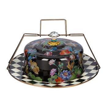 Flower Market Enamel Cake Carrier - Black