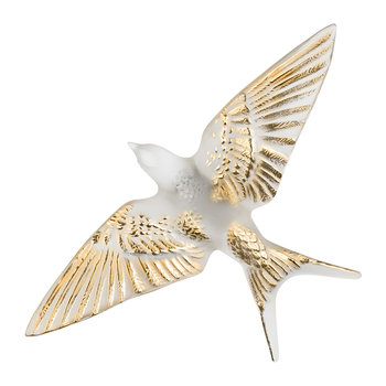 Swallow Sculpture - Clear & Gold - Clear & Gold