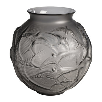 Hirondelles Round Crystal Vase - Gray
