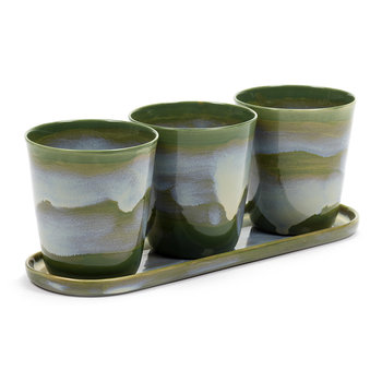 Herbs Pot with Saucer - Set of Three