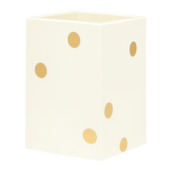 Cream and Gold Dot Pencil Cup