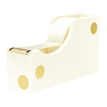 Cream and Gold Dot Tape Dispenser
