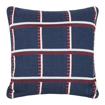 Checked Salon Cushion - 40x40cm - Blue