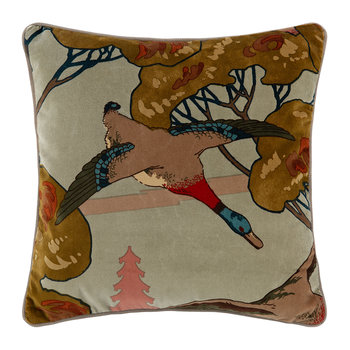 Velvet Flying Ducks Cushion - 45x45cm