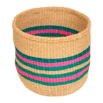 Linear Fusion Ndoto Hand Woven Basket - Pink/Turquoise