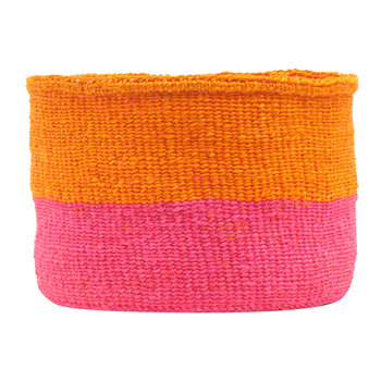 Kali Color Block Hand Woven Basket - Orange/Bright Pink