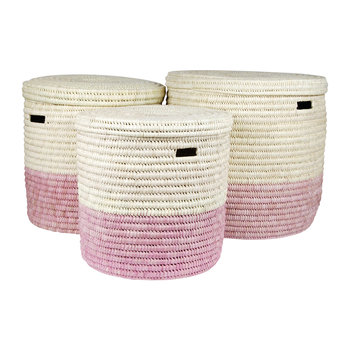 Hapa Hand Woven Colour Block Laundry/Storage Basket - Dusty Pink
