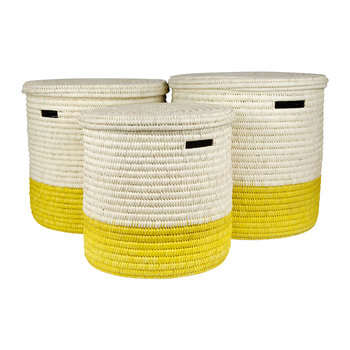 Vipi Hand Woven Colour Block Laundry/Storage Basket - Yellow