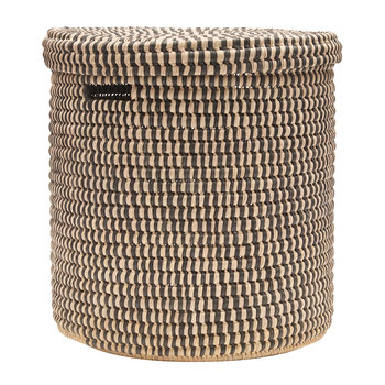 Yule Hand Woven Check Laundry/Storage Basket - Black