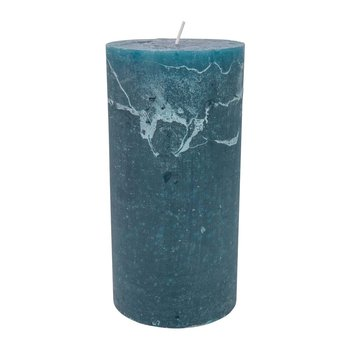 Rustic Pillar Candle - Teal