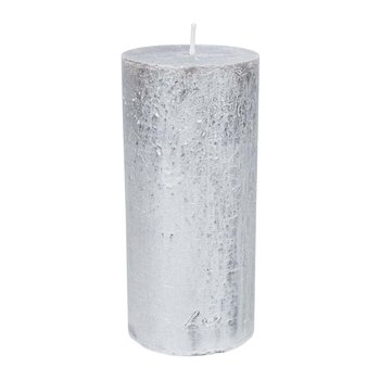 Rustic Metal Pillar Candle - Silver