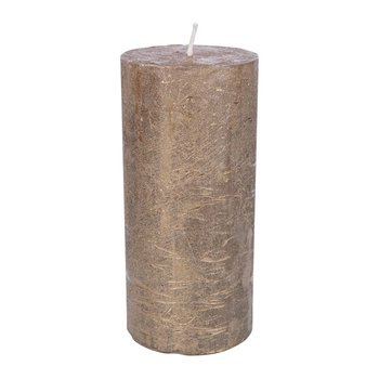 Rustic Metal Pillar Candle - Gold