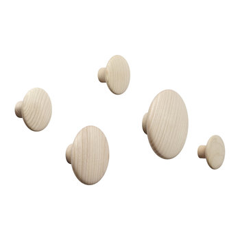 The Dots Coat Hook - Set of 5 - Natural Oak
