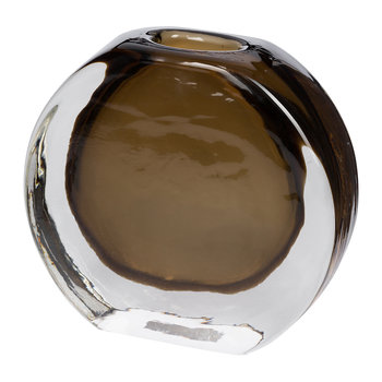 Smooth Round Glass Vase - Smoke Gray