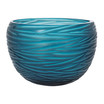 Rope Effect Glass Bowl - Midnight Blue