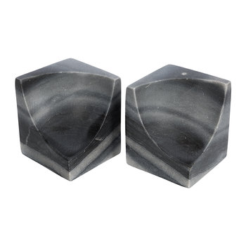 Carved Marble Bookends - Set of 2 - Black