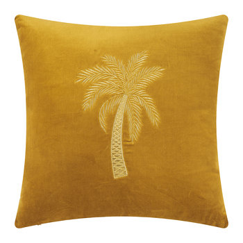 Velvet Palm Tree Cushion Cover - 45x45cm - Gold