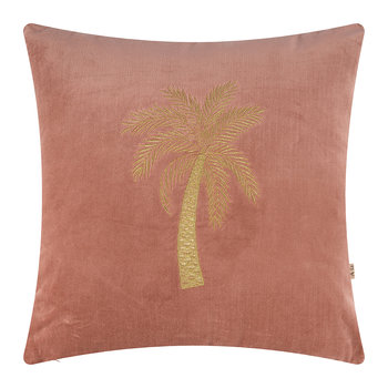 Velvet Palm Tree Pillow Cover - 45x45cm - Dusty Pink