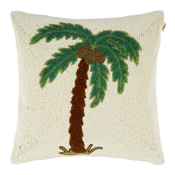 Beaded Palm Tree Cushion - 35x35cm